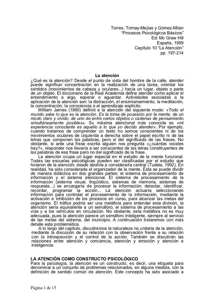 """Torres, Tornay-Mejías y Gómez-Milan                                                 """"Procesos Psicológicos Básicos""""       ..."""