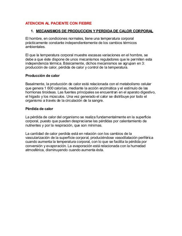 Baño En Ninos Con Fiebre:ATENCION AL PACIENTE CON FIEBRE 1 MECANISMOS DE PRODUCCION Y PERDIDA