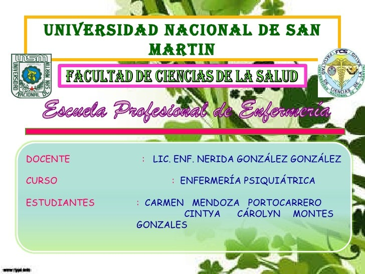 UNIVERSIDAD NACIONAL DE SAN MARTIN Escuela Profesional de Enfermería DOCENTE   :  LIC. ENF. NERIDA GONZÁLEZ GONZÁLEZ CURSO...
