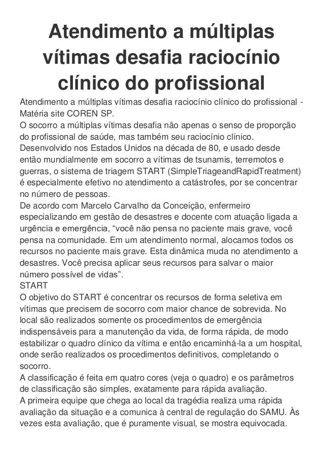 Atendimento a múltiplas vítimas desafia raciocínio clínico do profissional