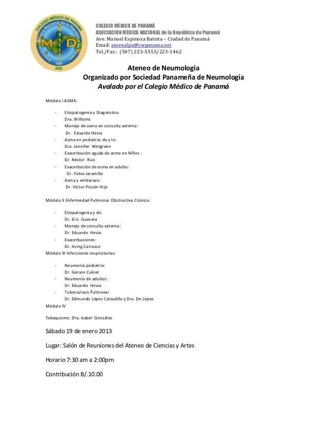 COLEGIO MÉDICO DE PANAMÁ                        ASOCIACIÓN MÉDICA NACIONAL de la República de Panamá                      ...