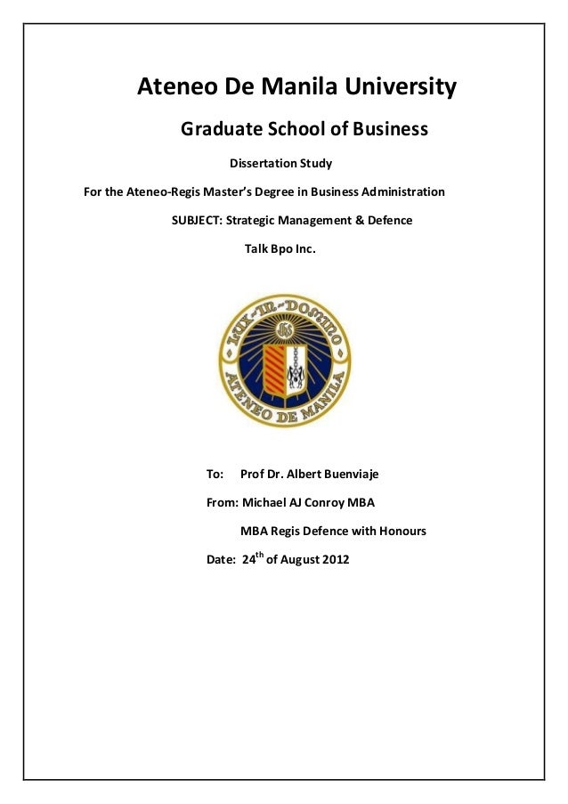 Thesis for masters in business administration