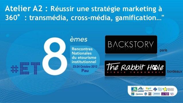 """Atelier A2 : Réussir une stratégie marketing à360°: transmédia, cross-média, gamification…""""                               ..."""