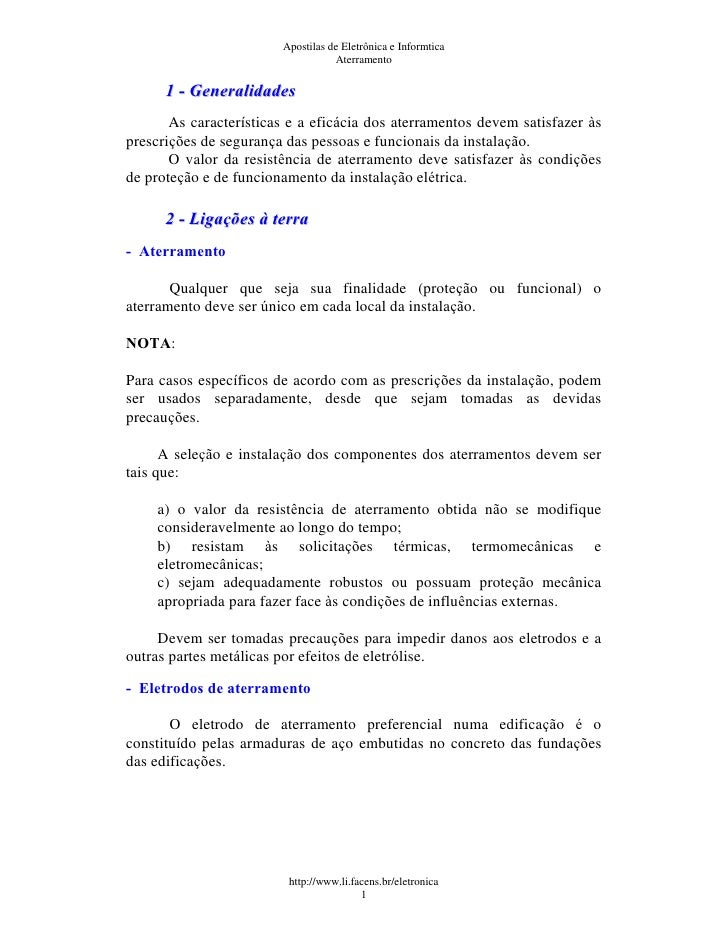 Apostilas de Eletrônica e Informtica                                   Aterramento      1 - Generalidades       As caracte...
