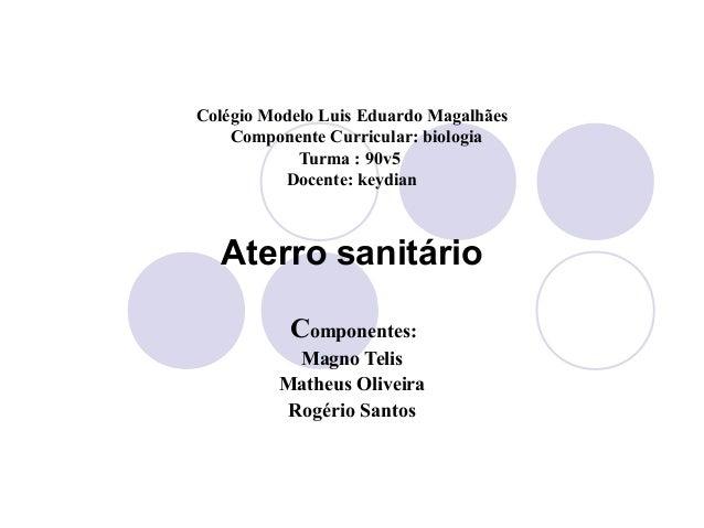 Colégio Modelo Luis Eduardo Magalhães    Componente Curricular: biologia            Turma : 90v5          Docente: keydian...