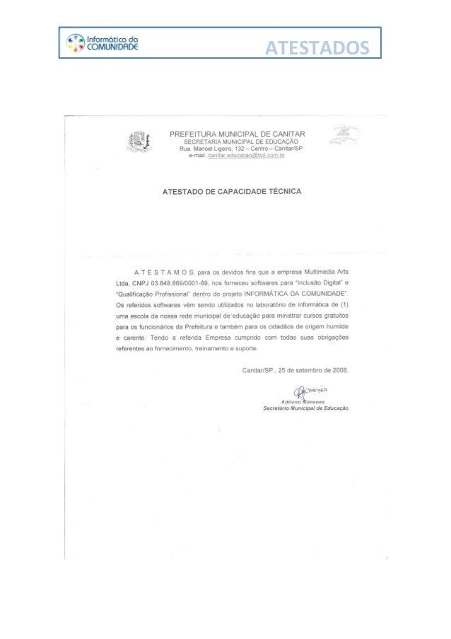 MULTIMÍDIA EDUCACIONAL - Atestado Capacidade Técnica