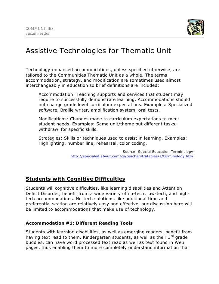 5744210-223520COMMUNITIES <br />Susan Ferdon<br />Assistive Technologies for Thematic Unit<br />Technology-enhanced accomm...