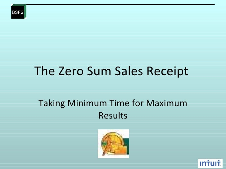 A The Zero Sum Sales Receipt