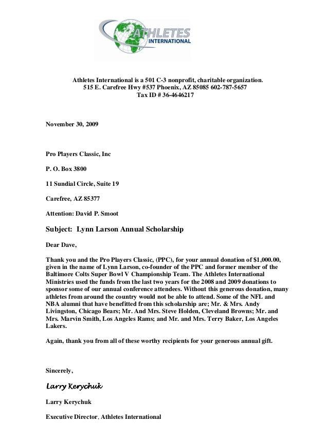 athlete letter