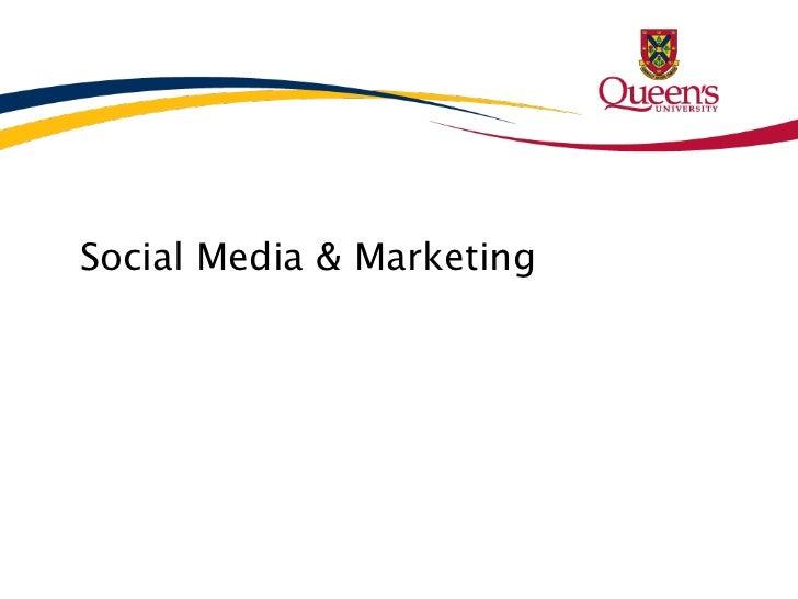 Social Media & Marketing Presentation to Athletics - Nov 2011