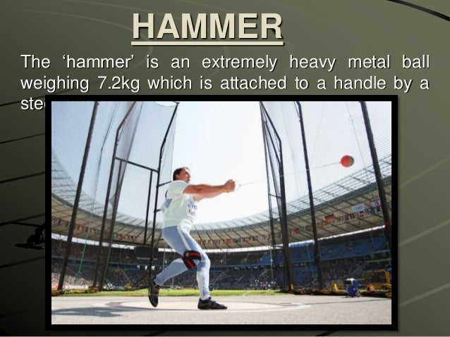 a description of the athletic event of hammer throw as a metal ball attached to a wire and handle The hammer throw involves throwing a heavy metal ball attached to a wire and handle the name hammer throw is derived from older competitions where an actual sledge.