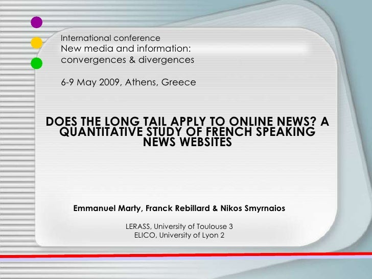 DOES THE LONG TAIL APPLY TO ONLINE NEWS? A QUANTITATIVE STUDY OF FRENCH SPEAKING NEWS WEBSITES