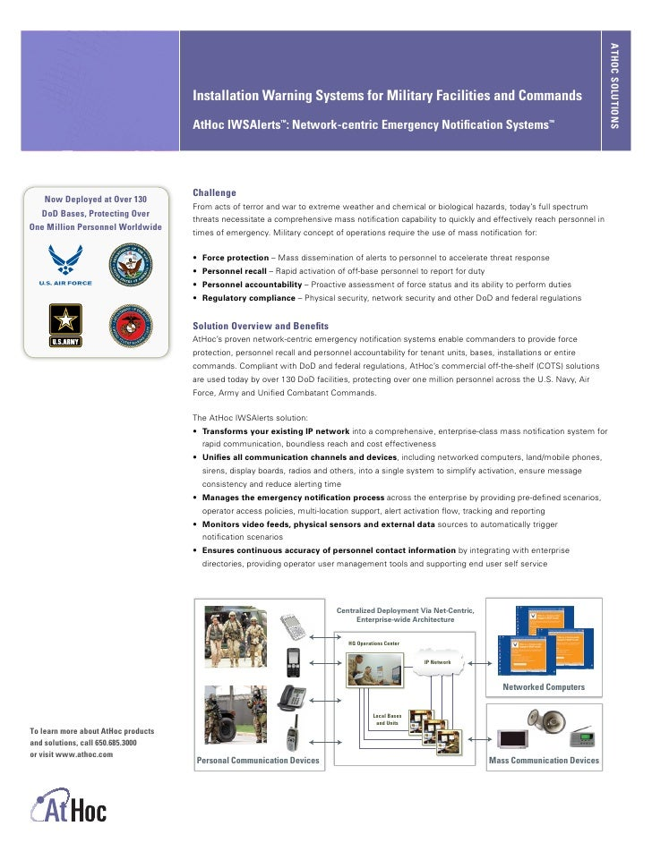 ATHOC SOLUTIONS                                      Installation Warning Systems for Military Facilities and Commands    ...