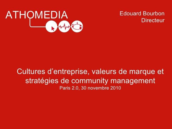 ATHOMEDIA Cultures d'entreprise, valeurs de marque et stratégies de community management Paris 2.0, 30 novembre 2010 Edoua...