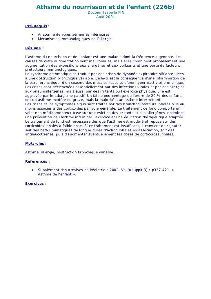 Athsme du nourrisson et de l'enfant (226b)                                   Docteur Isabelle PIN                         ...