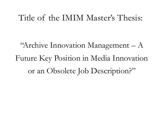Master thesis on innovation management