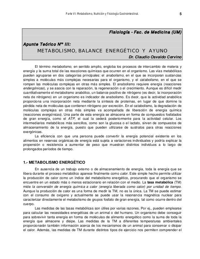 Parte VI: Metabolismo, Nutrición y Fisiología Gastrointestinal. 5 Fisiología - Fac. de Medicina (UM) Apunte Teórico Nro II...