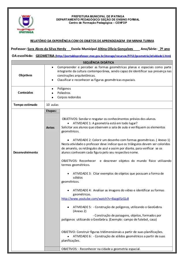 PREFEITURA MUNICIPAL DE IPATINGA                               DEPARTAMENTO PEDAGÓGICO/ SEÇÃO DE ENSINO FORMAL            ...