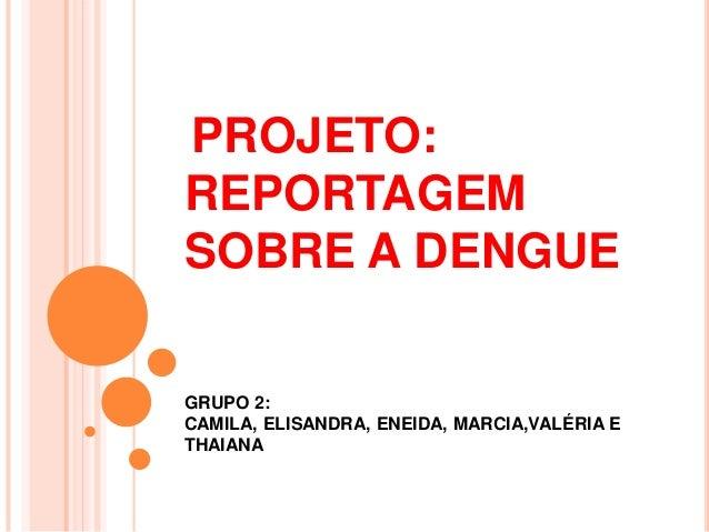 PROJETO: REPORTAGEM SOBRE A DENGUE GRUPO 2: CAMILA, ELISANDRA, ENEIDA, MARCIA,VALÉRIA E THAIANA