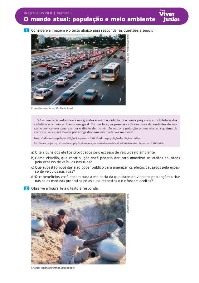 Geografia LIVRO 8 | Capítulo 1 O mundo atual: população e meio ambiente  1  Considere a imagem e o texto abaixo para re...