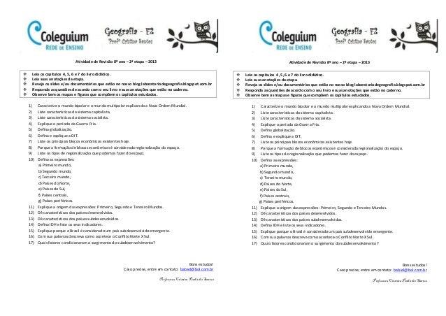 Atividade de revisão 8º ano 2ª etapa 2013