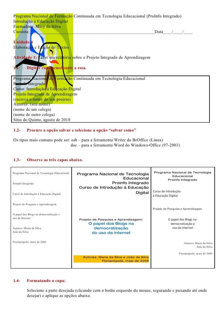 Programa Nacional de Formação Continuada em Tecnologia Educacional (ProInfo Integrado) Introdução à Educação Digital Forma...