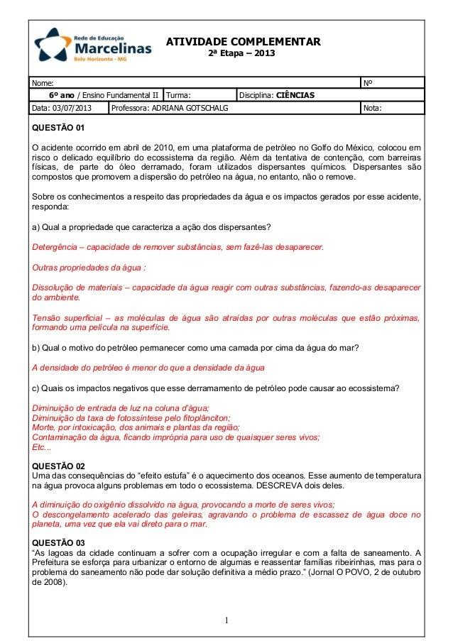 Nome: Nº 6º ano / Ensino Fundamental II Turma: Disciplina: CIÊNCIAS Data: 03/07/2013 Professora: ADRIANA GOTSCHALG Nota: Q...