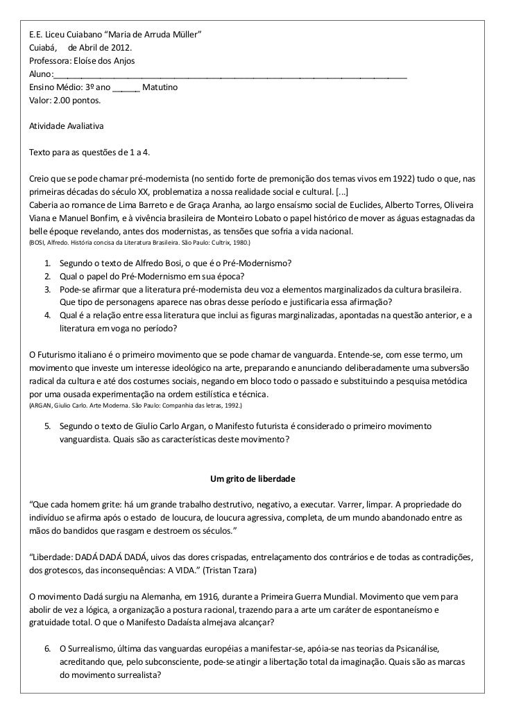 "E.E. Liceu Cuiabano ""Maria de Arruda Müller""Cuiabá, de Abril de 2012.Professora: Eloíse dos AnjosAluno:___________________..."