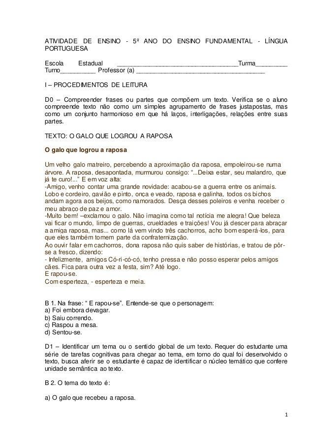 1 ATIVIDADE DE ENSINO - 5º ANO DO ENSINO FUNDAMENTAL - LÍNGUA PORTUGUESA Escola Estadual _________________________________...
