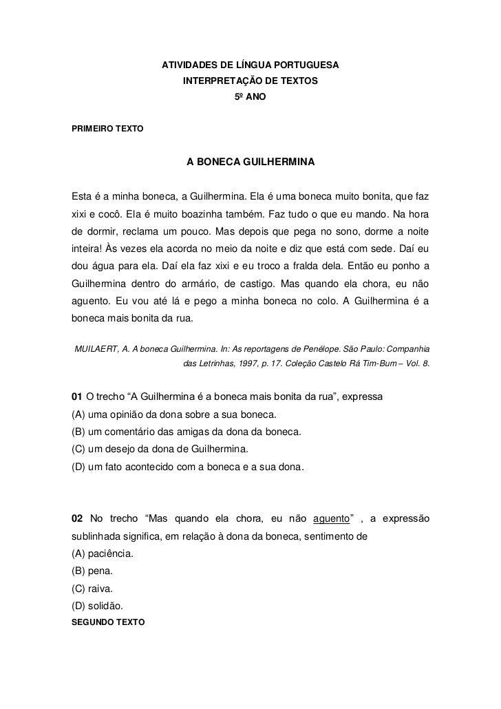 ATIVIDADES DE LÍNGUA PORTUGUESA<br />INTERPRETAÇÃO DE TEXTOS <br />5º ANO<br />PRIMEIRO TEXTO<br />A BONECA GUILHERMINA<br...
