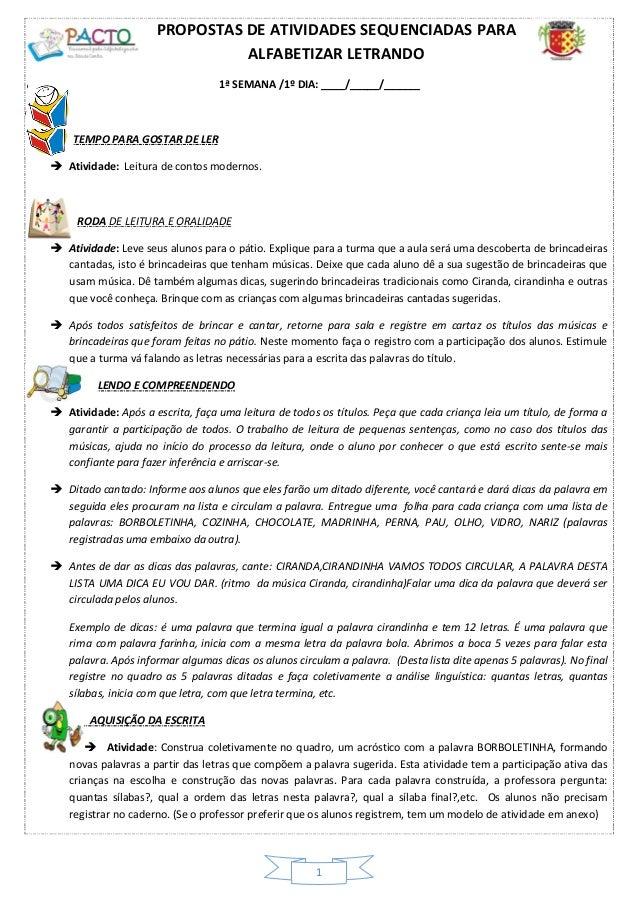 Atividades sequenciadas - 1º encontro 2013