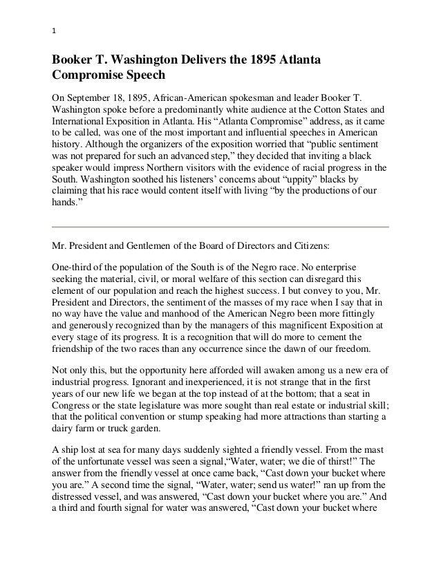 atlanta compromise essay Analysis of rhetoric: atlanta compromise, dubois of booker t washington and others atlanta compromise: booker t washington.