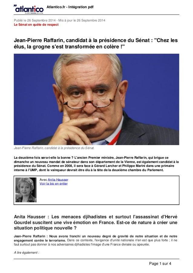 Atlantico.fr - Intégration pdf Publié le 26 Septembre 2014 - Mis à jour le 26 Septembre 2014 Le Sénat en quête de respect ...