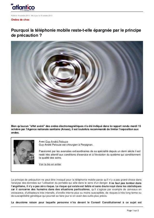 Téléphone mobile et principe dit de précaution /Mobile phone use in humans and the so-called precaution principle