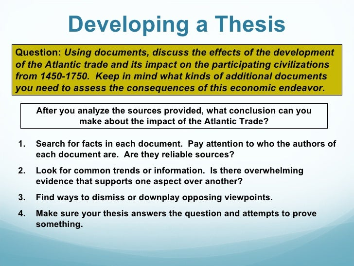 How to write a dbq thesis statement....topic ....what drove the sugar trade...?
