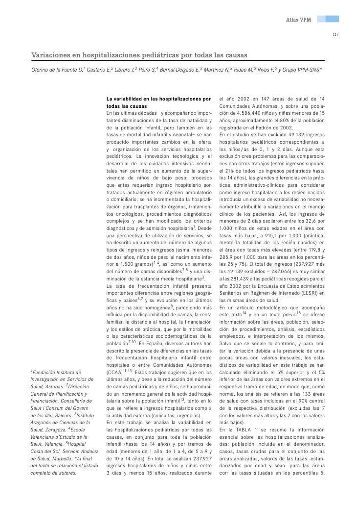Atlas numero 3.2 Variaciones en hospitalizaciones pediátricas por todas las causas
