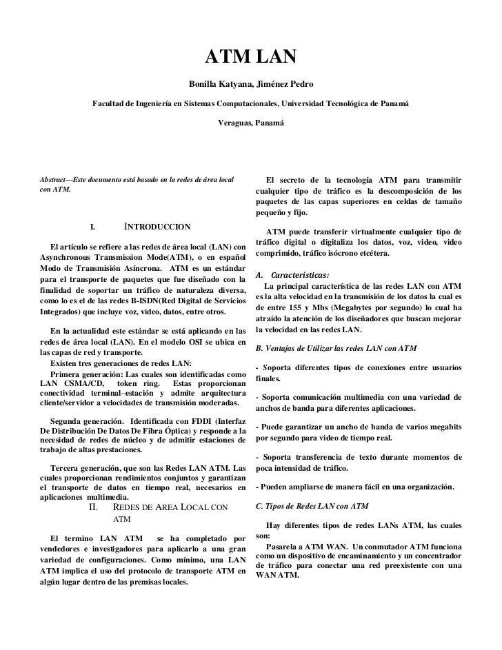 ATM LAN                                              Bonilla Katyana, Jiménez Pedro                Facultad de Ingeniería ...