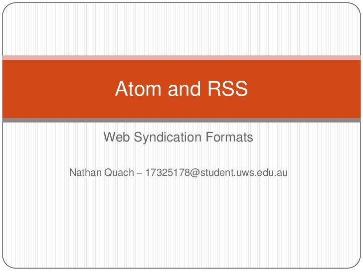 Atom and rss