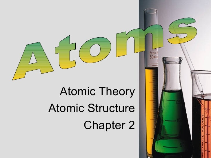 Atomic Theory Atomic Structure Chapter 2 Atoms