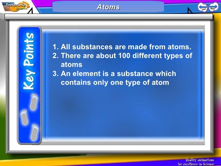 Atoms <ul><li>All substances are made from atoms.  </li></ul><ul><li>There are about 100 different types of atoms </li></u...