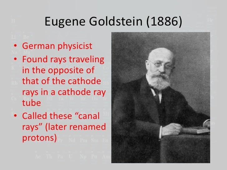 eugen goldstein Eugen goldstein (5 september 1850 – 25 december 1930) was a german physicisthe was an early investigator of discharge tubes, the discoverer of anode rays, and is sometimes credited with the.