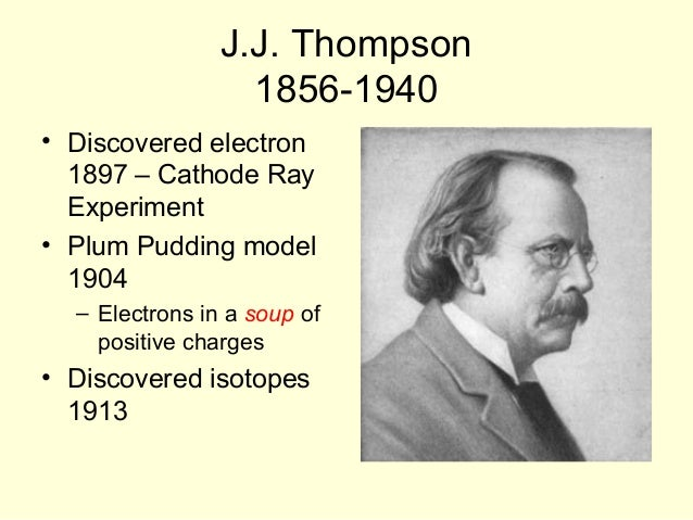 jj thomson atomic theory March 6, 1913: bohr describes his model of atom to rutherford  for example,  and marks the change of scenes on the hit tv sitcom the big bang theory   with the legendary jj thomson, who years earlier had discovered the electron,  and.