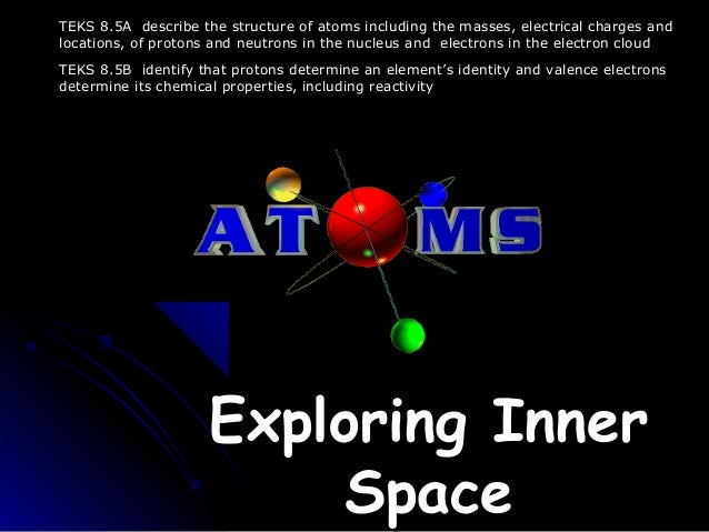 Exploring InnerExploring Inner SpaceSpace TEKS 8.5A describe the structure of atoms including the masses, electrical charg...