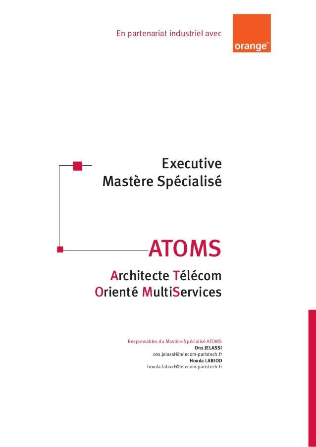 En partenariat industriel avec  Executive  Mastère Spécialisé  ATOMS  Architecte Télécom  Orienté MultiServices  Responsab...