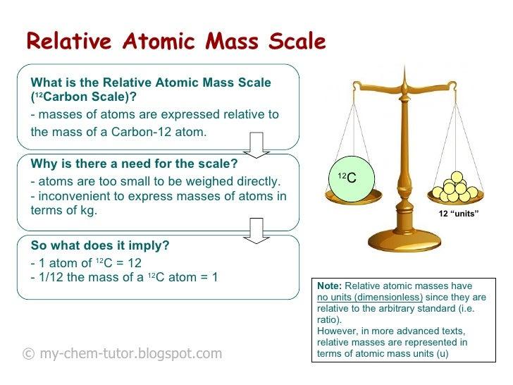 Relative Atomic Mass Scale   <ul><li>What is the Relative Atomic Mass Scale ( 12 Carbon Scale)?   </li></ul><ul><li>masses...