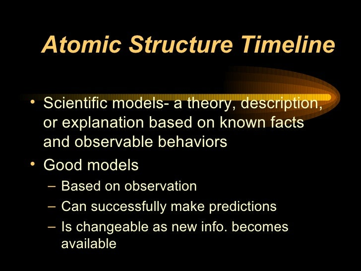 Atomic Structure Timeline <ul><li>Scientific models- a theory, description, or explanation based on known facts and observ...