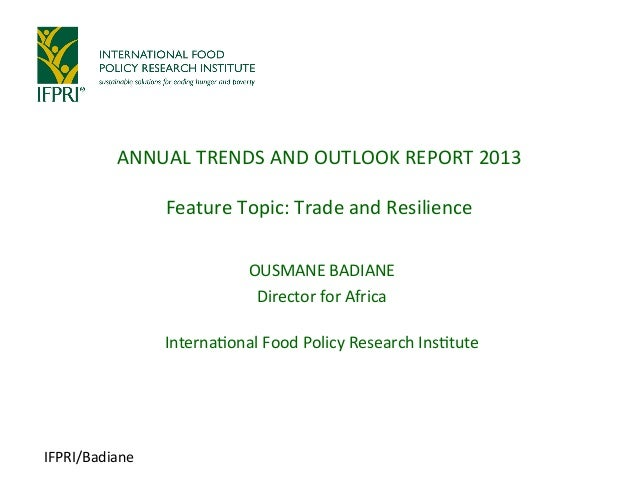 Annual Trends and Outlook Report 2013: Trade and Resilience