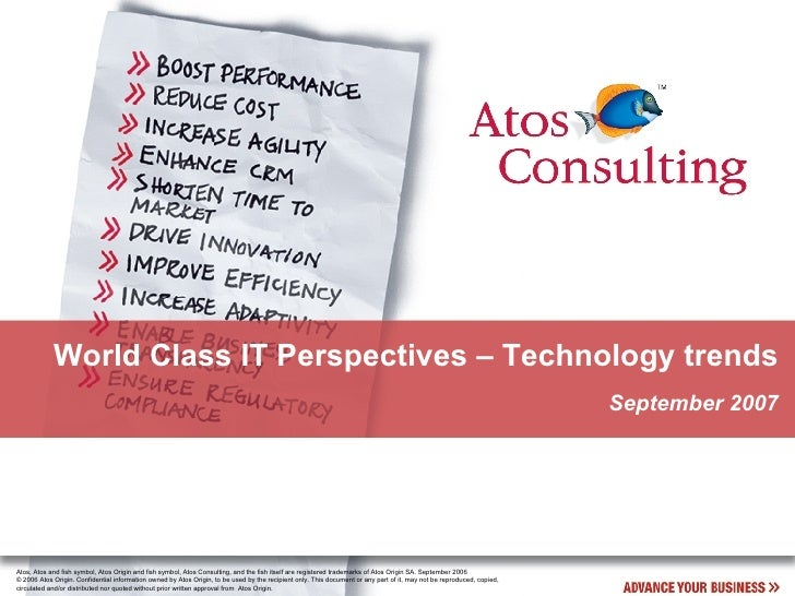 Atos Consulting World Class IT Perspectives Technology Trends