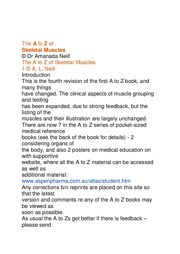 A to z skeletal muscles