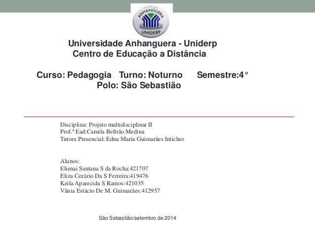Disciplina: Projeto multidisciplinar II Prof.ª Ead:Camila Beltrão Medina Tutora Presencial: Edna Maria Guimarães Inticher ...